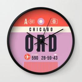 Baggage Tag A - ORD Chicago O'Hare USA Wall Clock