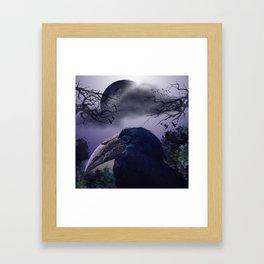 Spooky night, mixed media art with birds Framed Art Print