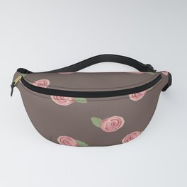 Cute watercolor pink roses with leaves Fanny Pack