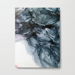 Dark Payne's Grey Flowing Abstract Painting Metal Print