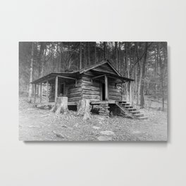 Cabin in the Woods in BW Metal Print