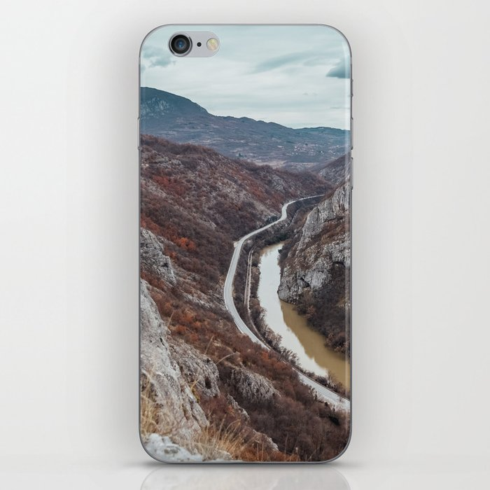 Beautiful photo of the canyon in Serbia, with river and the highway in the middle iPhone Skin