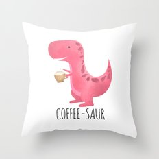 Coffee-saur | Pink Throw Pillow
