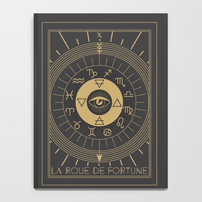la roue de fortune or wheel of fortune tarot notebook by cafelab society6. Black Bedroom Furniture Sets. Home Design Ideas