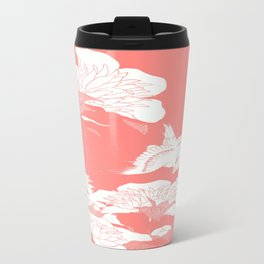 japanese Flowers Peach Travel Mug