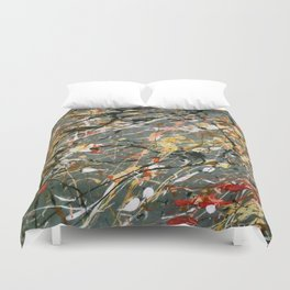 Jackson Pollock Interpretation Acrylics On Canvas Splash Drip Action Painting Duvet Cover