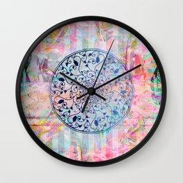 Pastel Boho Watercolor Mandala Vines Wall Clock