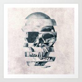 Glitch Skull Mono Art Print