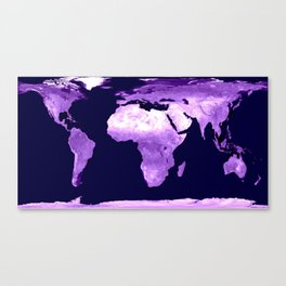 Purple World Map Canvas Print