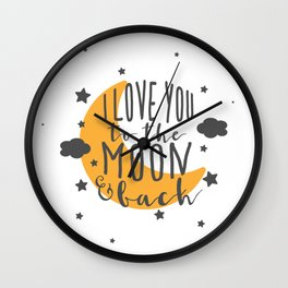 I Love You To The Moon.. - Yellow Palette Wall Clock