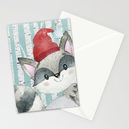 Winter Woodland Friends Cute Racoon Snowy Forest Illustration Stationery Cards