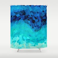 tokyo Shower Curtains featuring INVITE TO BLUE by Catspaws