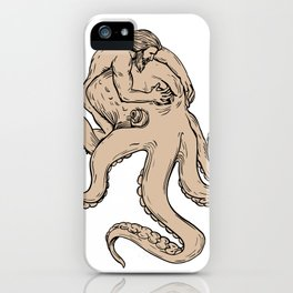 Hercules Fighting Giant Octopus Drawing iPhone Case