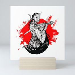 Neko Ninja Girl with Katana Mini Art Print