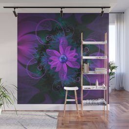 Beautiful Ultraviolet Lilac Orchid Fractal Flowers Wall Mural