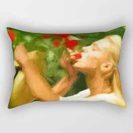 Lady eating wild strawberries Rectangular Pillow