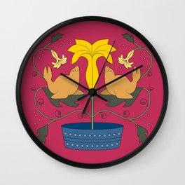 Seal Flower Folk Art Wall Clock