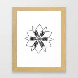 Simple black mandala on white Framed Art Print