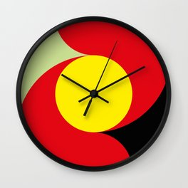 This is a sun splitting the sky in two sides, one black, one green. Spitting deep red round rays. Wall Clock