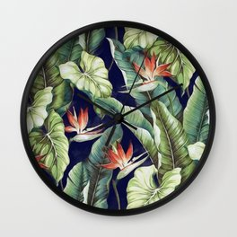 Night tropical garden II Wall Clock