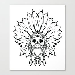 Shaman skull black & white Canvas Print