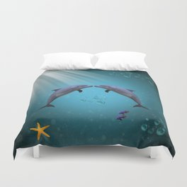 dolphins love Duvet Cover