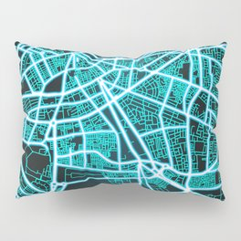 Tripoli, Libya, Blue, White, Neon, Glow, City, Map Pillow Sham