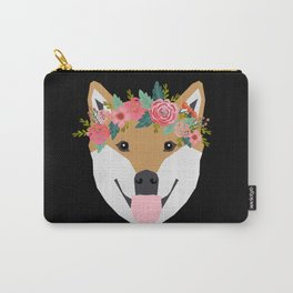 Shiba Inu floral crown dog with flowers pet art pure breed shiba inus Carry-All Pouch