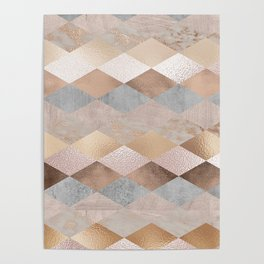 Copper and Blush Rose Gold Marble Argyle Poster