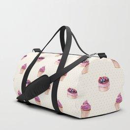 Vintage lavender pink ivory polka dots cherries pie cupcakes pattern Duffle Bag