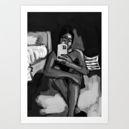 in my room black and white Art Print