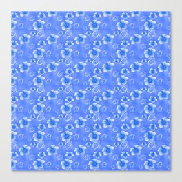 Blue Honu And Hibiscus Hawaiian Pattern Canvas Print