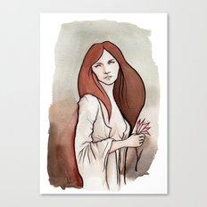Brunette in Drapery Canvas Print