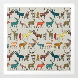 patterned deer stone Art Print
