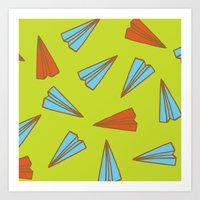 planes Art Prints featuring Paper Planes by evannave