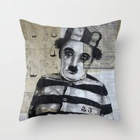 chaplin Throw Pillows featuring Charles Chaplin  by Krzyzanowski Art