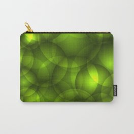 Glowing light green soap circles and volumetric green bubbles of air and water. Carry-All Pouch