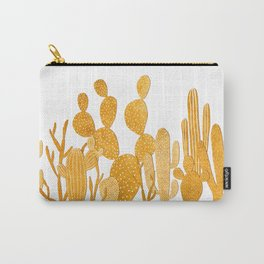 Golden cactus garden on white Carry-All Pouch