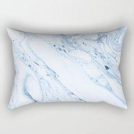 White & Blue-Gray Marble Rectangular Pillow