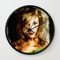 thrones Wall Clocks featuring Portrait of Natalie Dormer (tutors / game of thrones) by André Joseph Martin