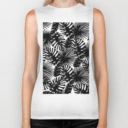 Modern black white watercolor tropical floral leaves Biker Tank
