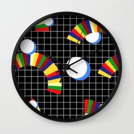 Memphis Grid & Rainbows Wall Clock