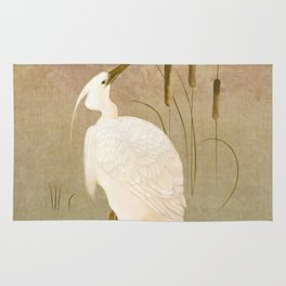 White Heron in Bulrushes Rug
