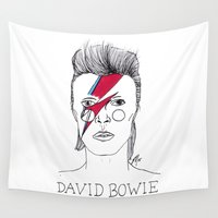 bowie Wall Tapestries featuring Bowie by ☿ cactei ☿