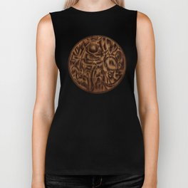Abstract Wood Carving Pattern Biker Tank