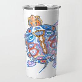 Sea Turtle - Aqua Blue Palette   Folk design Travel Mug