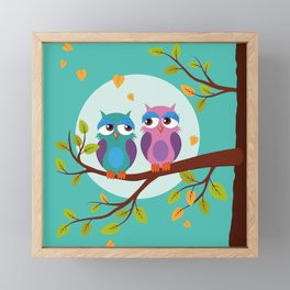 Sleepy owls in love Framed Mini Art Print