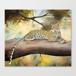 Painting of a Leopard on Lookout Canvas Print