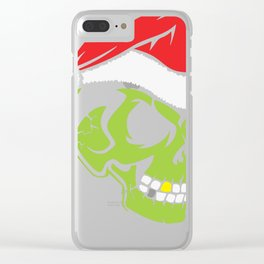 Gold Tooth Green Skull Santa Hat Christmas Clear iPhone Case