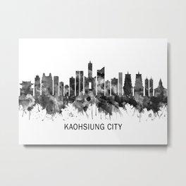 Kaohsiung City Taiwan Skyline BW Metal Print